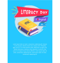 Literacy day i love english poster with textbooks vector