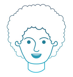 Male face with curly hair in degraded blue vector