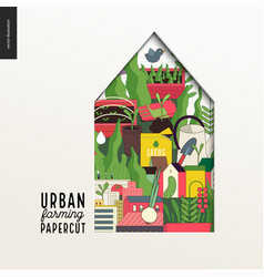 Papercut - colorful layered house on urban farming vector