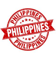 Philippines red round grunge vintage ribbon stamp vector