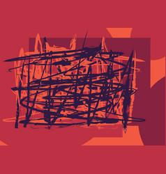 Random brushstrokes red background vector