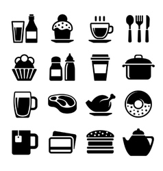 Restaurant and Cafe Food Drink Icon Set vector image