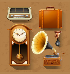 Retro items on brown background vector