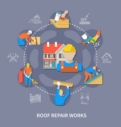 Roofer colored composition vector