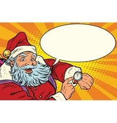 Santa Claus shows on the clock New year and vector image vector image