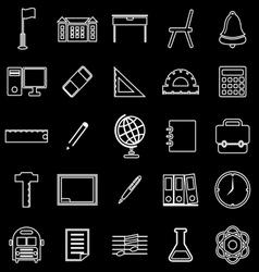 School line icons on black background vector