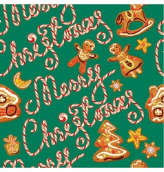 Seamless pattern with xmas gingerbread vector image vector image