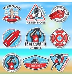 Set of vintage lifeguard emblems vector image