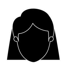 Silhouette black faceless closeup front view woman vector