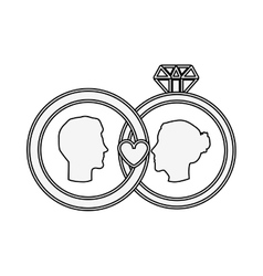 Silhouette profile face engagement and diamond vector