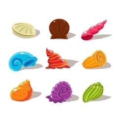 Sparkling Cartoon Sea Shells vector image vector image
