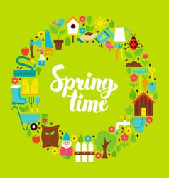 spring time flat circle vector image