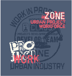 Urban project work force excavator vector