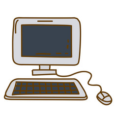 Light colored hand drawn silhouette of desktop vector