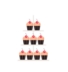 Sweet dessert delicious cute cupcakes set isolated vector