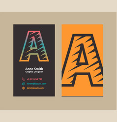 Letter a logo business card vector