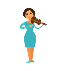 Orchestra jazz band woman playing violin fiddle vector