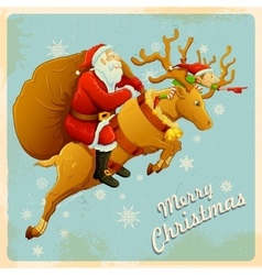 Santa on reindeer with christmas gift vector