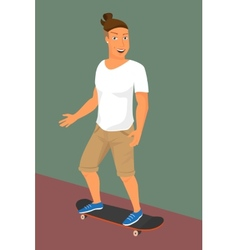 Hipster guy wearing small ponytail on skateboard vector