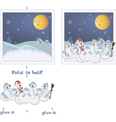 3d christmas post card christmas snowmen vector