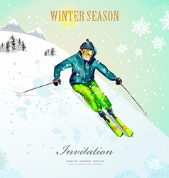 Winter sport girl skiing at ski resort watercolor vector
