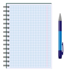 Blank paper sheet in cage with pen isolated on vector