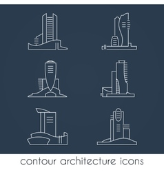 Set of six contour architecture icons vector