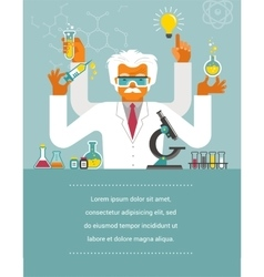 Mad scientist - research bio technology vector