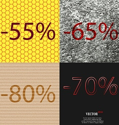 65 80 70 icon set of percent discount on abstract vector