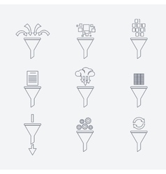 Filter line icons vector