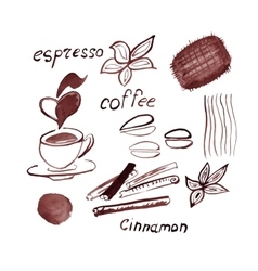 Watercolor coffee set vector