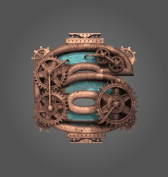 6 rusted letter with gears vector