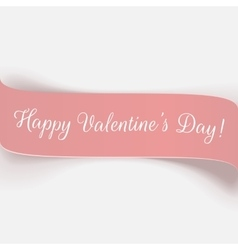 Holiday pink paper valentines day ribbon vector