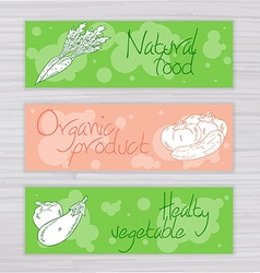 Vegetables banners with circles on wooden backdrop vector