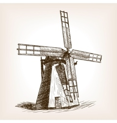 Windmill hand drawn sketch vector image