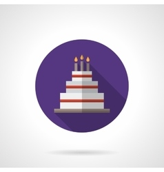 Party cake purple round flat icon vector