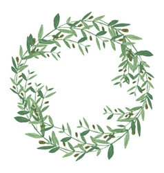 Watercolor olive wreath isolated on white vector