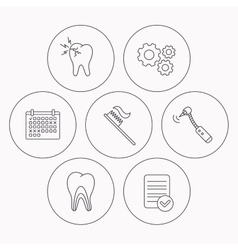 Toothache drilling tool and toothbrush icons vector