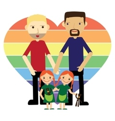 Gay family with twins flat vector