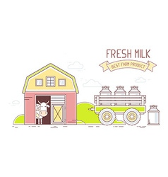 Agribusiness of colorful modern milk farm li vector