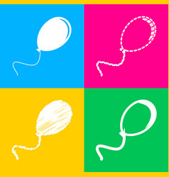 Balloon sign four styles of icon on vector