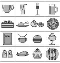 Black and white food set vector