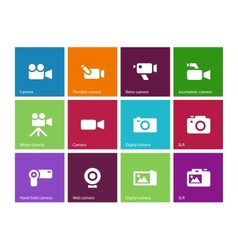 Camera icons on color background vector