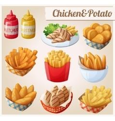 Chicken and potato Set of cartoon food vector image