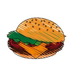 Color crayon stripe cartoon hamburger fast food vector