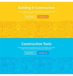 Construction Line Art Web Banners Set vector image vector image