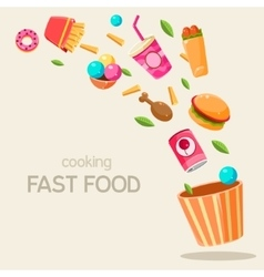 Flying fast food vector