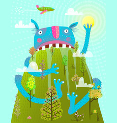 Funny scary amazing monster sitting on mountain vector