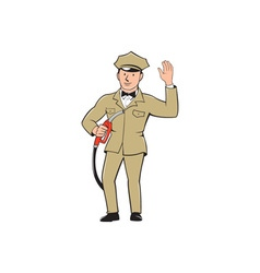 Gas jockey attendant waving isolated cartoon vector