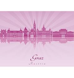 Graz skyline in purple radiant vector image vector image